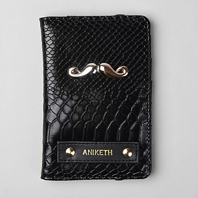 Personalised Black Croco Passport Cover:Personalised Accessories
