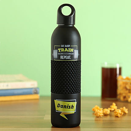 black personalised flask