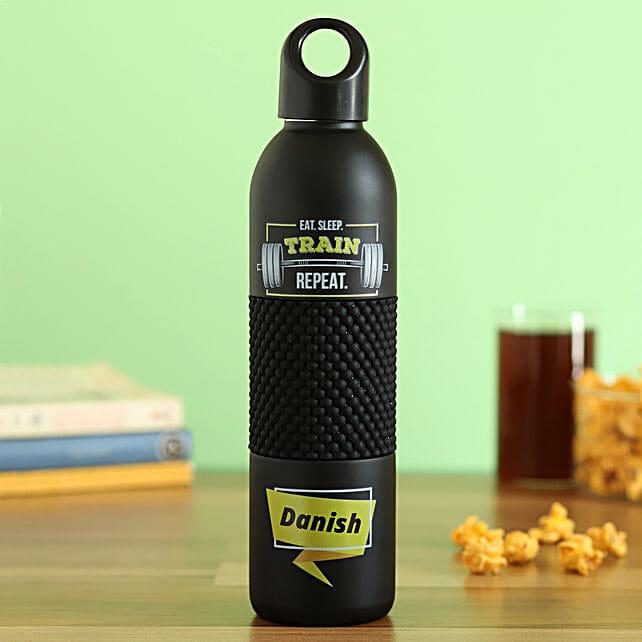 black personalised flask