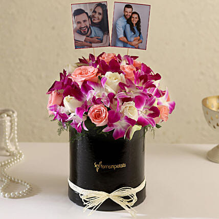 Online Customised Black FNP Floral Box Arrangement:Buy Orchids