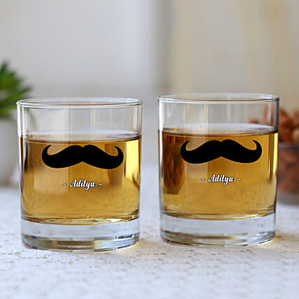 Personalised Black Moustache Whiskey Glass Set Of Two