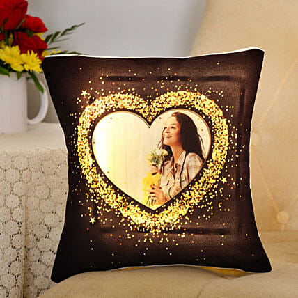 Personalised Blingy Heart LED Cushion:Personalised Cushions
