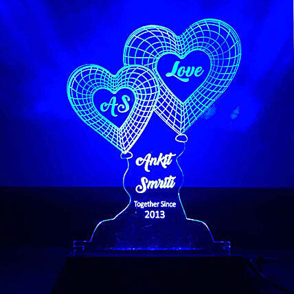 Blue Heart Shaped Lamp:Anniversary Gifts for Girlfriend
