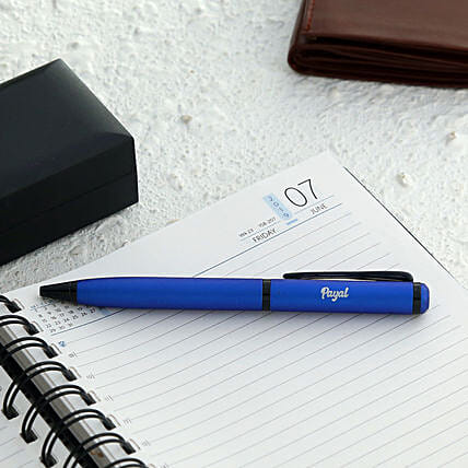 Personalised Blue Roller Ball Pen:Send Personalised Pens