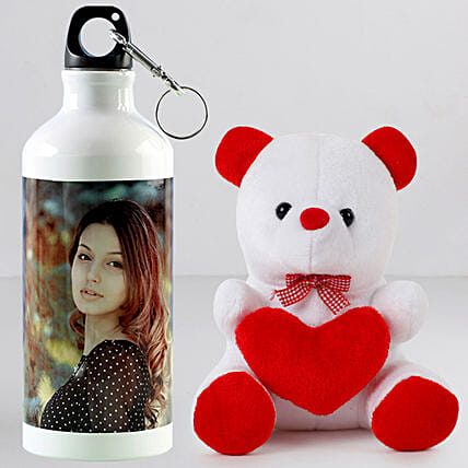Personalised Bottle n Teddy Combo:Teddy Day Gifts