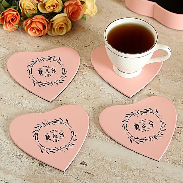 Customised Pink Tea Coaster Set