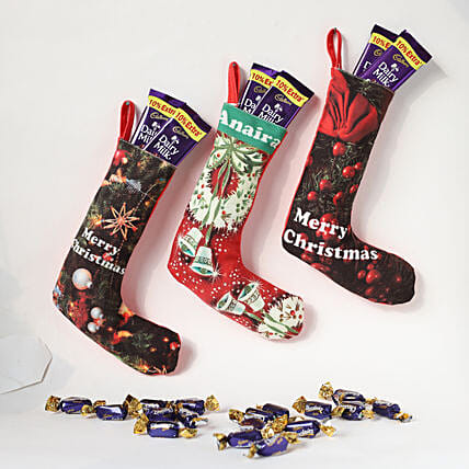 combo of sock with chocolate for x-mas