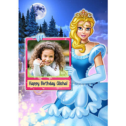 online cinderella e poster for girl birthday:Send Digital Caricatures & Posters