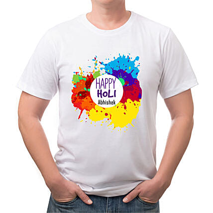 Personalised Colourful Holi T shirt:T Shirts