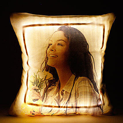 Personalised Cool Yellow LED Cushion:Thinking Of You
