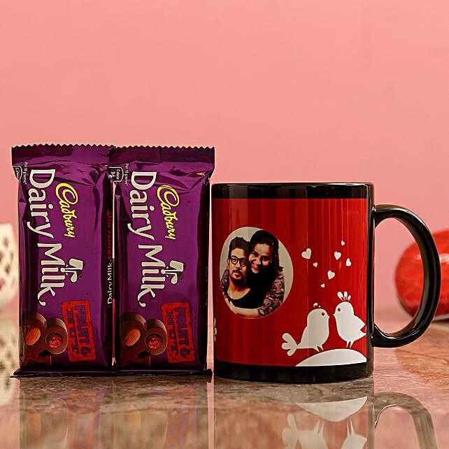 Customized Couple Photo  Mug and Cadbury Fruit n Nuts Chocolates