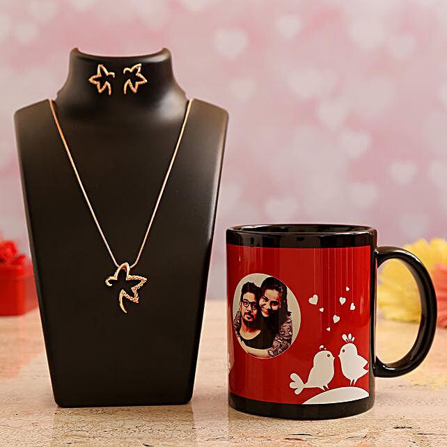 Customised Couple Photo  Mug and Pretty Necklace Set