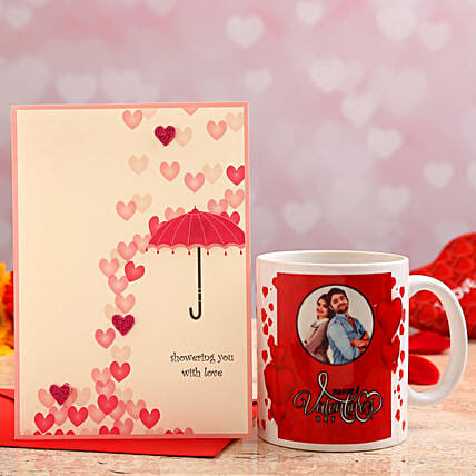 valentines day personalised mug with greeting card:Send Valentines Day Greeting Cards