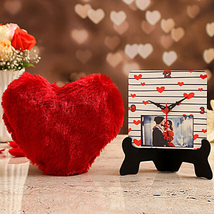 personalised table clock with red heart