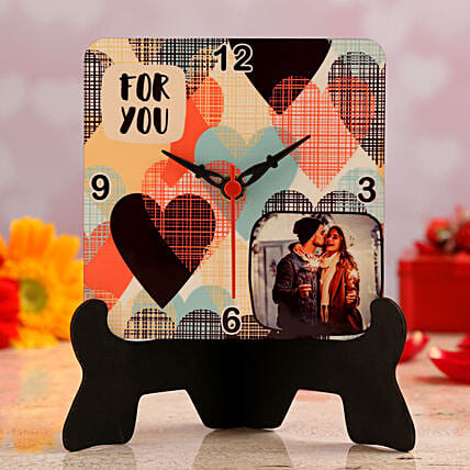 personalised valentine table clock online