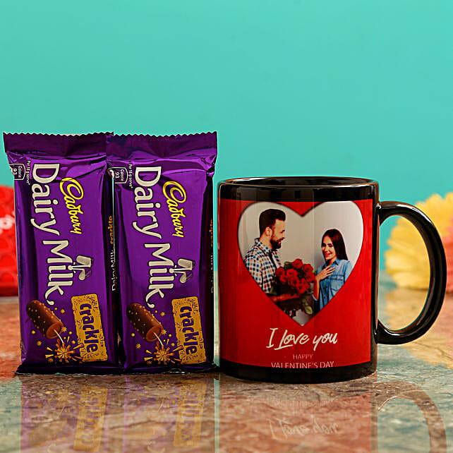 Customised Couple Photo Mug and Cadbury Crackle Chocolates