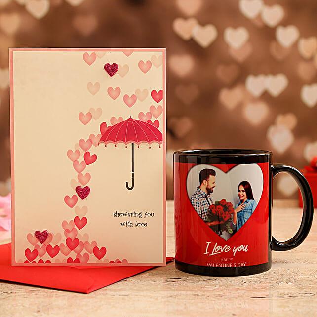 Customised Couple Photo Mug and Love Umbrella Card