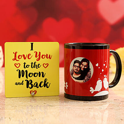 Customised Couple Photo Mug and Love You To The Moon Table Top