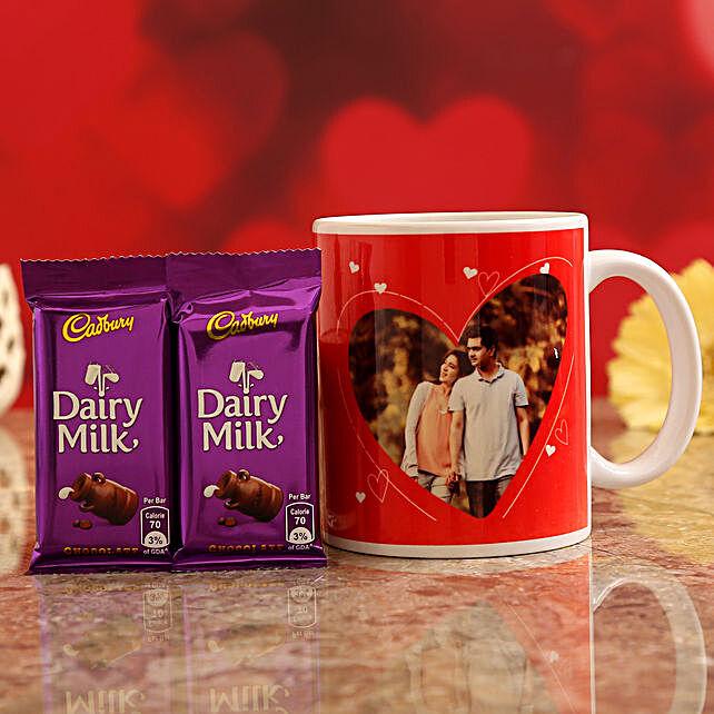 Customised Couple Photo Pretty Mug and Cadbury Dairy Milk