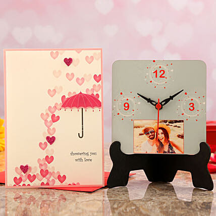 table clock with card for valentine online