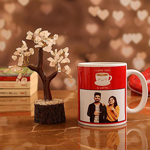 Customised Couple Photo  Mug and Rose Quartz Wish Tree