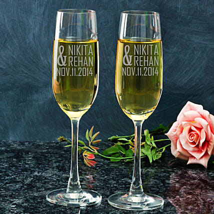 Customised Couple Set Champagne Glasses:Send Personalised Wine Glasses