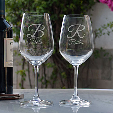 Customised Couple Wine Glasses:Buy Personalized Wine Glasses