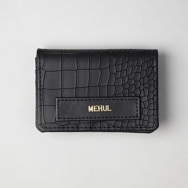 Personalised Croco Black Card Holder