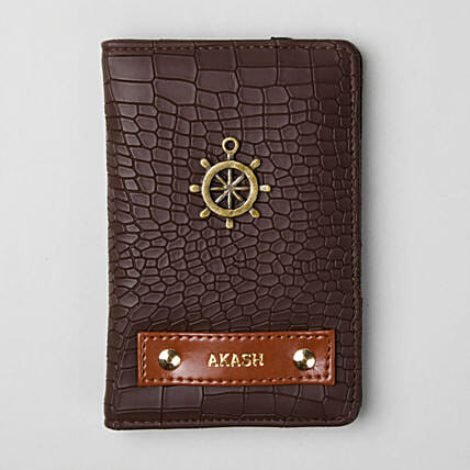 Personalised Croco Brown Passport Cover:Personalised Accessories