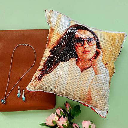Sequin Photo Cushion and Pendant Set Online