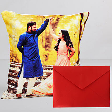 Personalised Cushion n Greeting Card Combo
