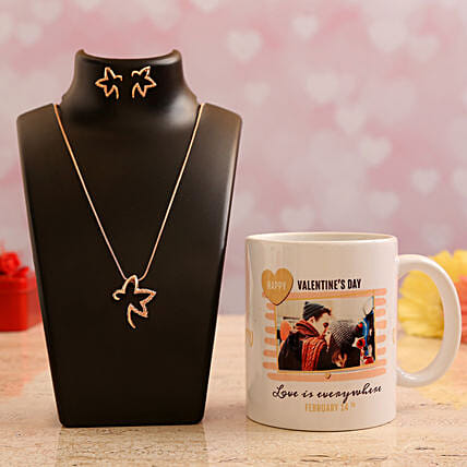 Customised  Photo Mug and Pretty Necklace Set