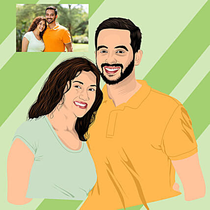 best digital sketch for couple online:Send Digital Caricatures & Posters