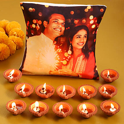 Send Online Cushion with Diya Set
