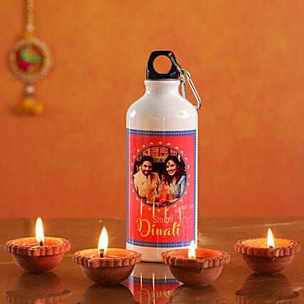 Personalised Diwali Water Bottle With Diyas