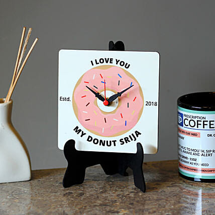 donut printed table clock