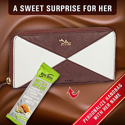 Personalised Dual Tone Ladies Purse Chocolate
