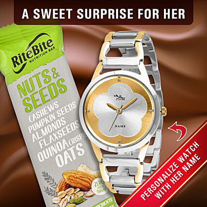 Personalised Dual Tone Ladies Watch Chocolate