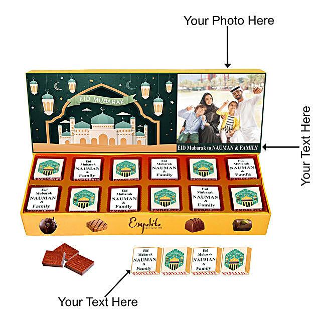 Personalised Eid Mubarak Chocolate Box 12 Pcs