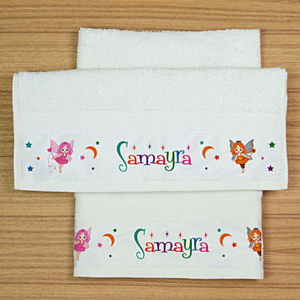 Personalised Fairy Print Hand Towel Set