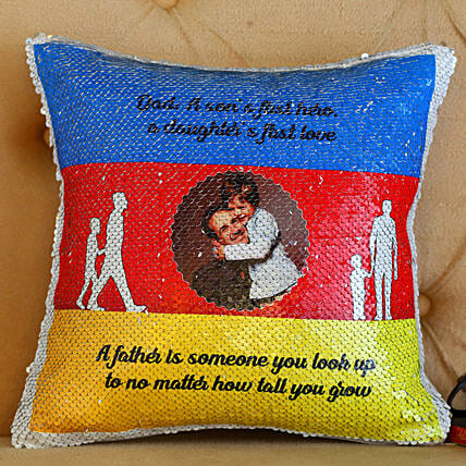 Personalised Father's Day Sequin Cushion- Hand Delivery