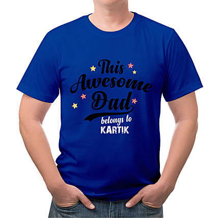 Personalised Fathers Day Special Blue T Shirt:Send Personalised Tee Shirts