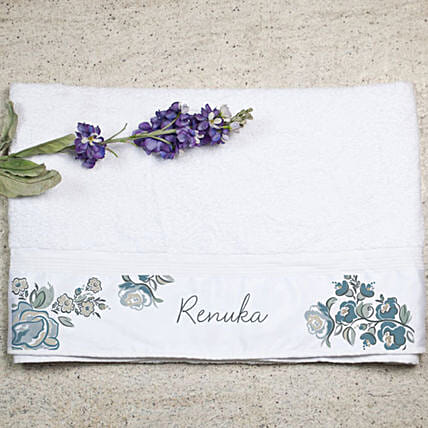Personalised Floral Print Bath Towel:Personalised Towels