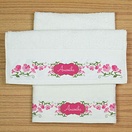 Personalised Floral Printed Hand Towels