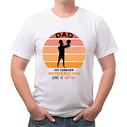 Personalised Forever Hero Dad White T Shirt