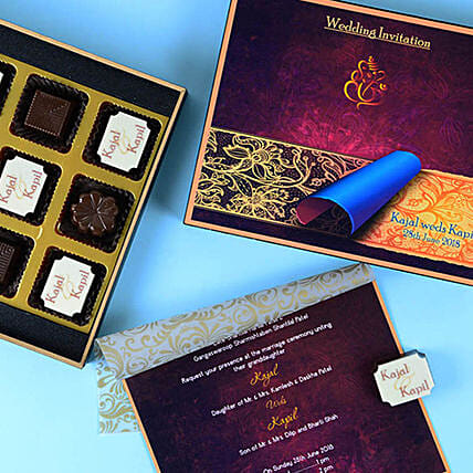 Online Wedding Invitation Card and Chocolates