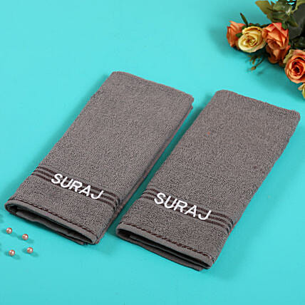 Personalised Gray Cotton Towel Pack Of 2