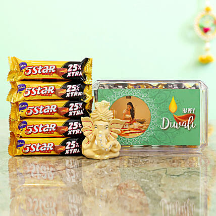 Green Diwali Box With Beige Ganesha Idol & Cadbury 5 Star Combo