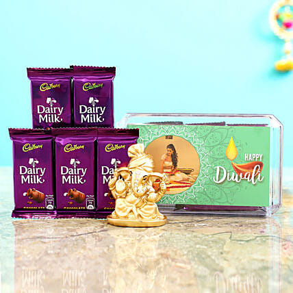 Green Diwali Box With Golden Ganesha Idol & Dairy Milk