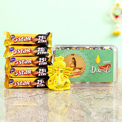 Green Diwali Box With Pagdi Ganesha Idol & Cadbury 5 Star Combo